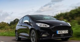 New Ford Fiesta front view on road