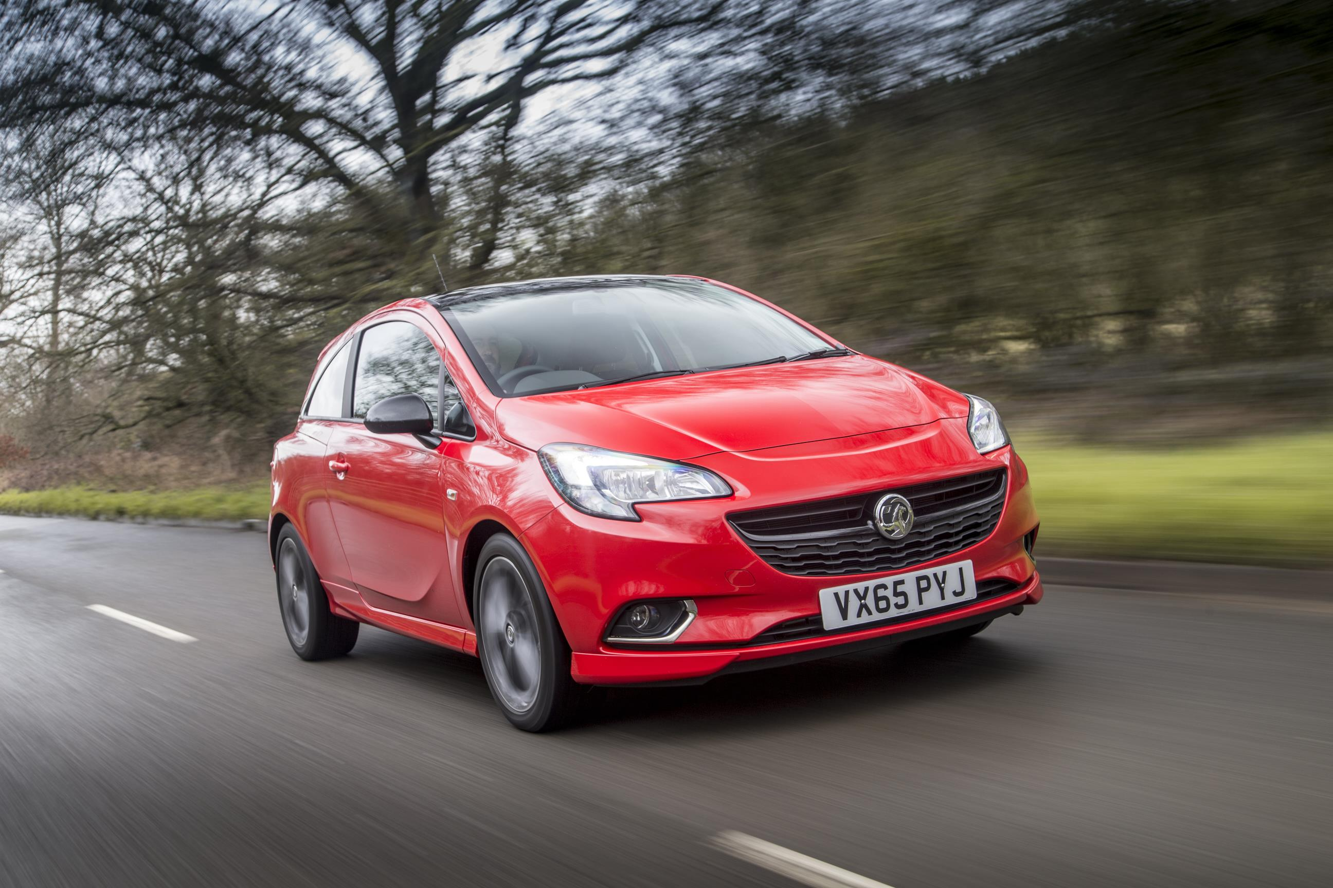 Vauxhall Corsa in red on road
