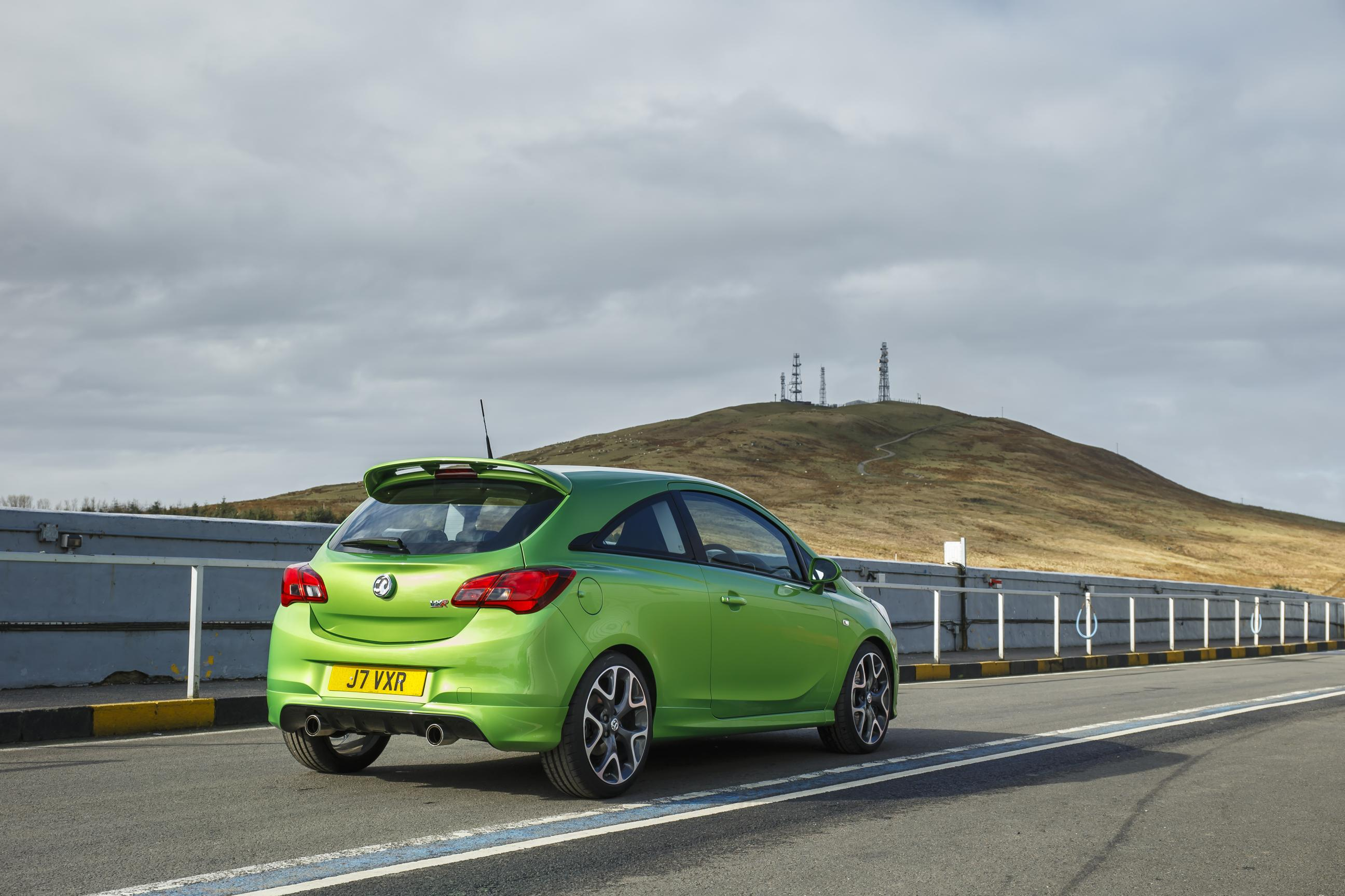 Vauxhall Corsa rear view in green