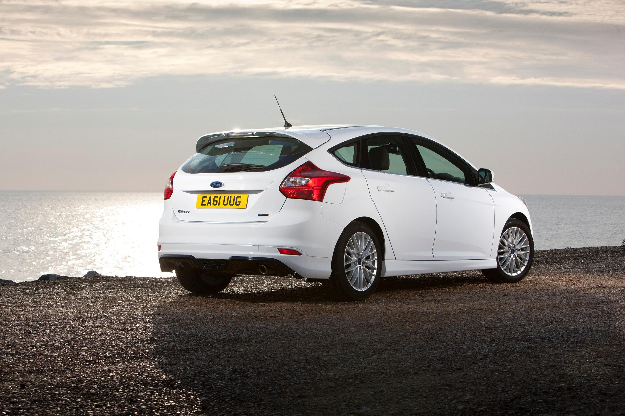 Ford Focus rear view in white