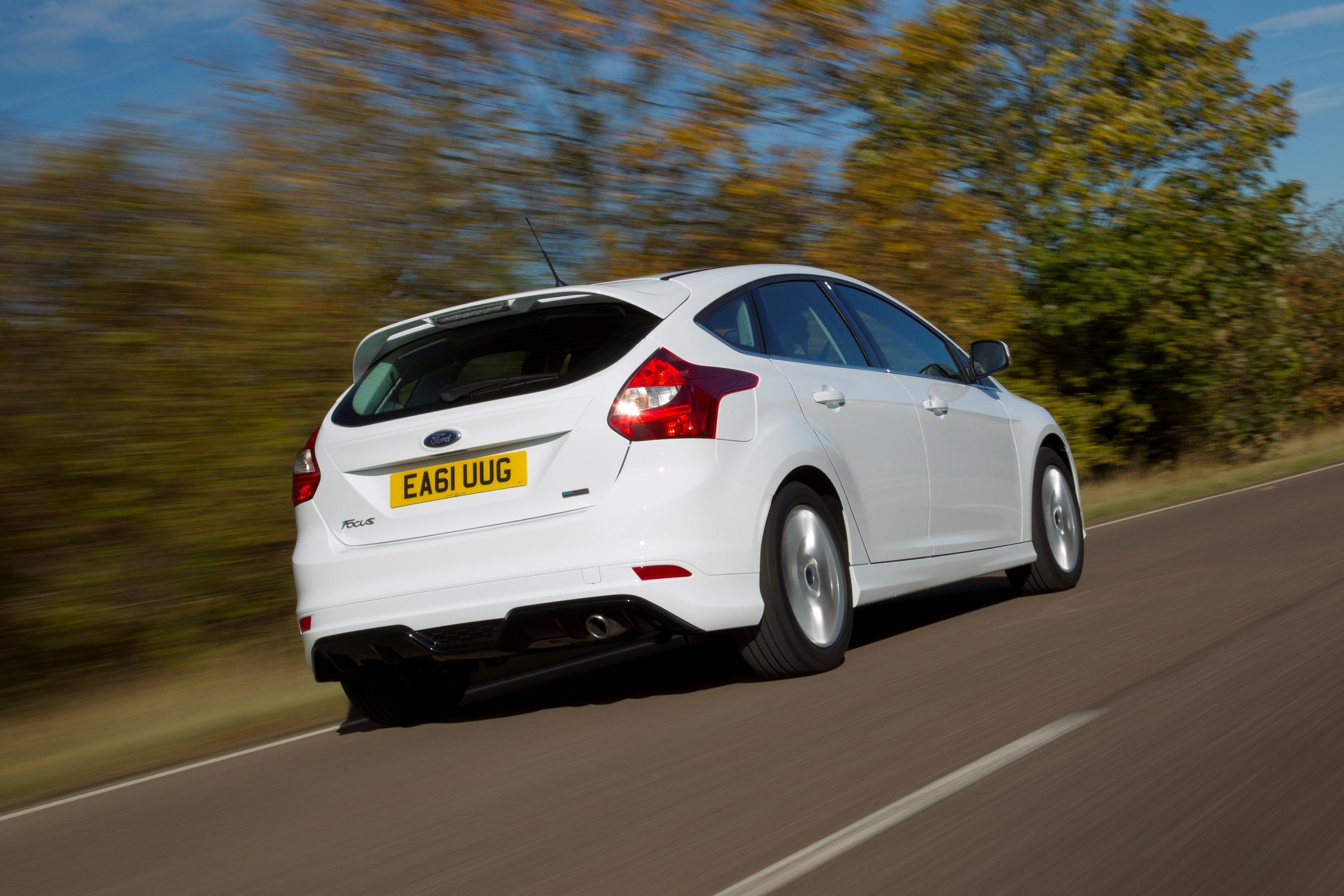Ford Focus rear view on road