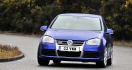 VW Golf front view in blue