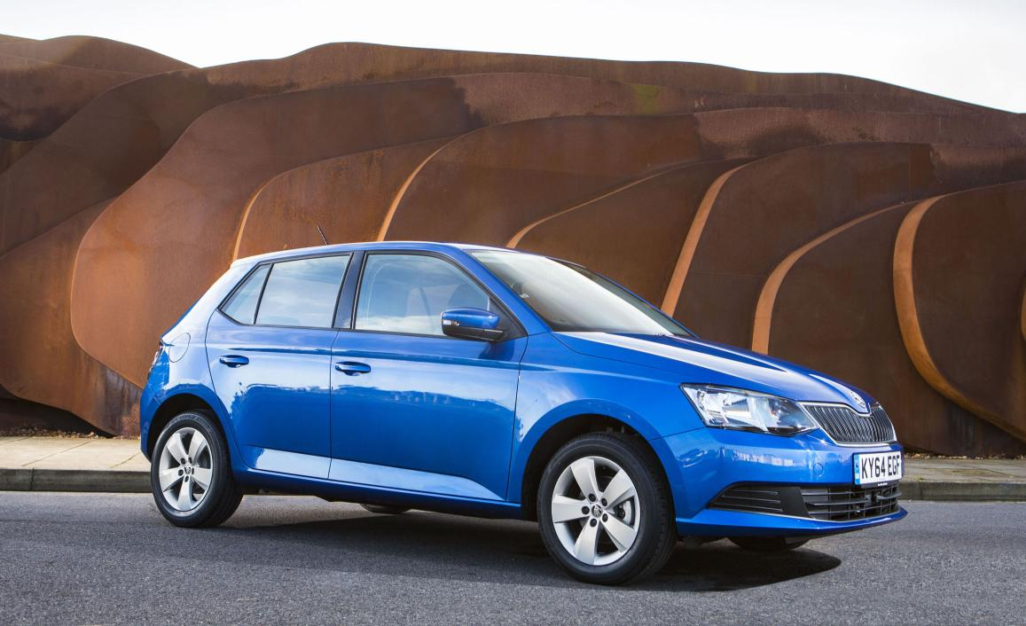 Skoda Fabia in blue parked