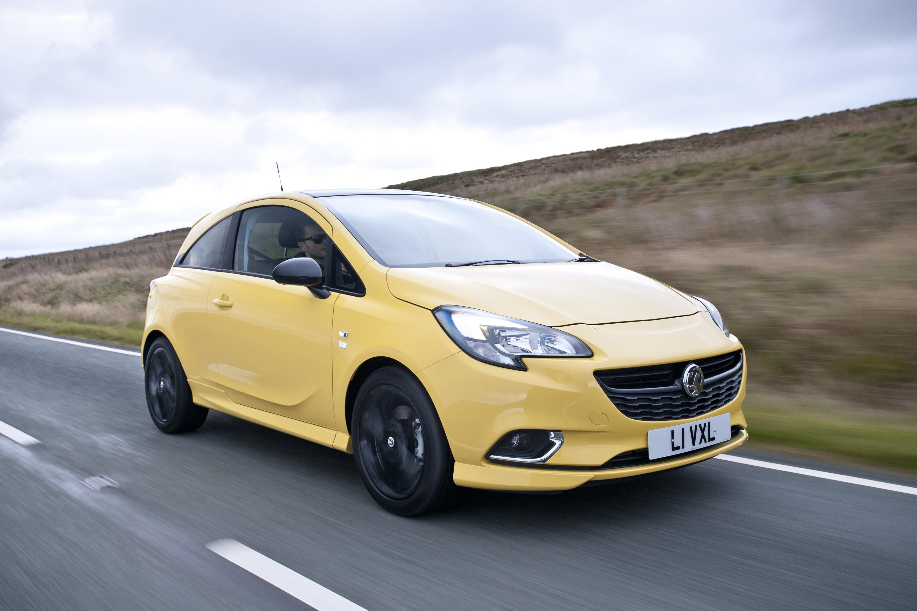 Vauxhall Corsa in yellow on road