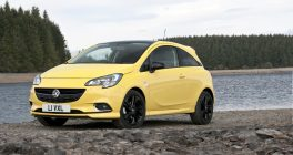 Vauxhall Corsa in yellow near lake