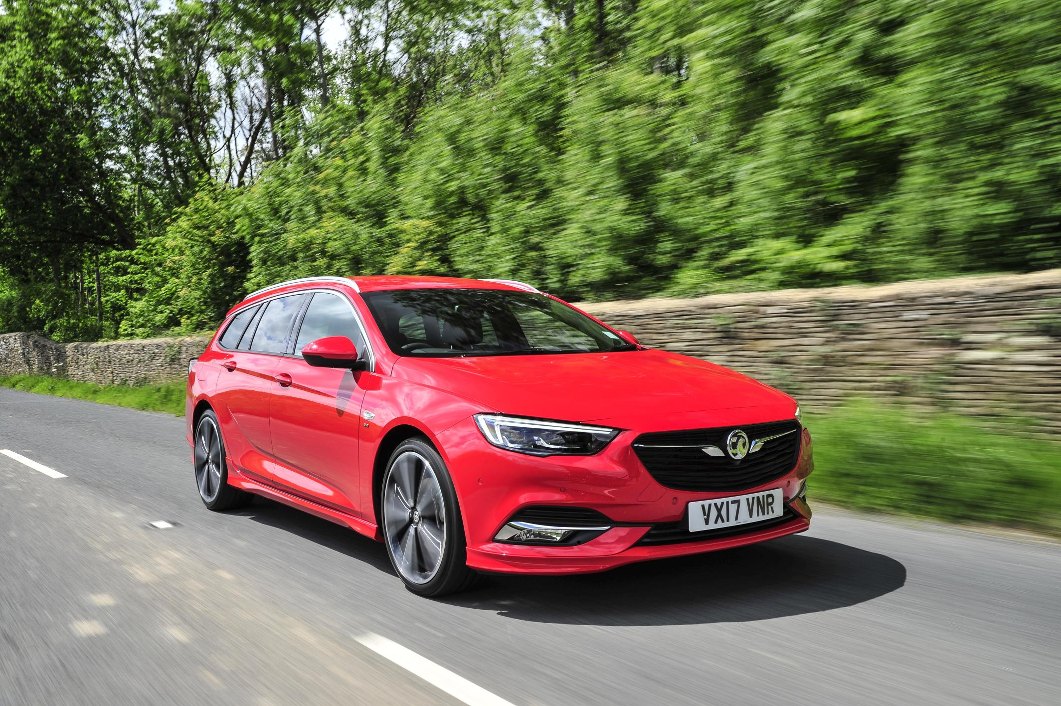Vauxhall Insignia Sports on road in red