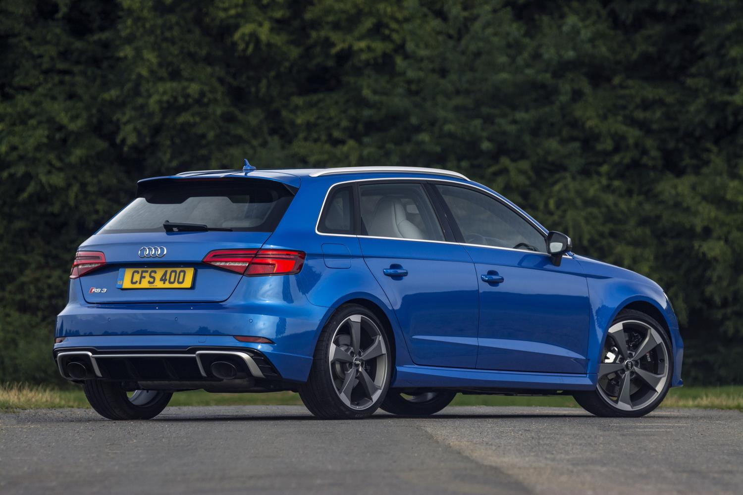 Audi RS3 rear view in blue