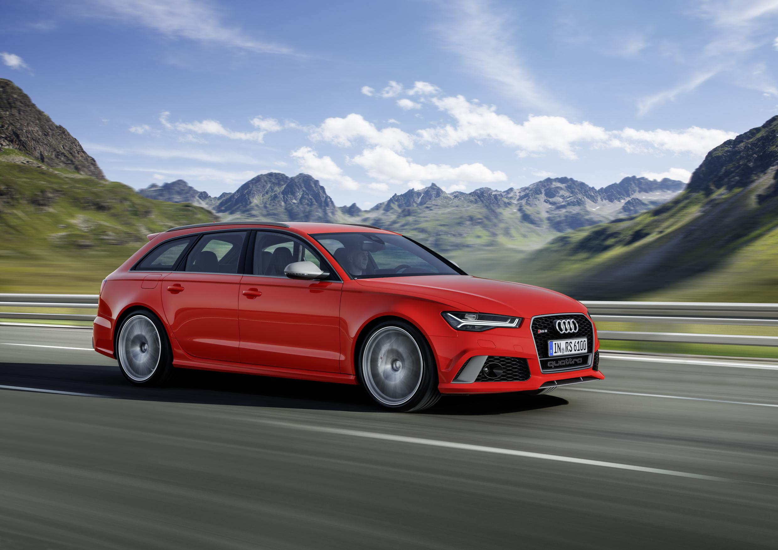 Audi A6 side view in red