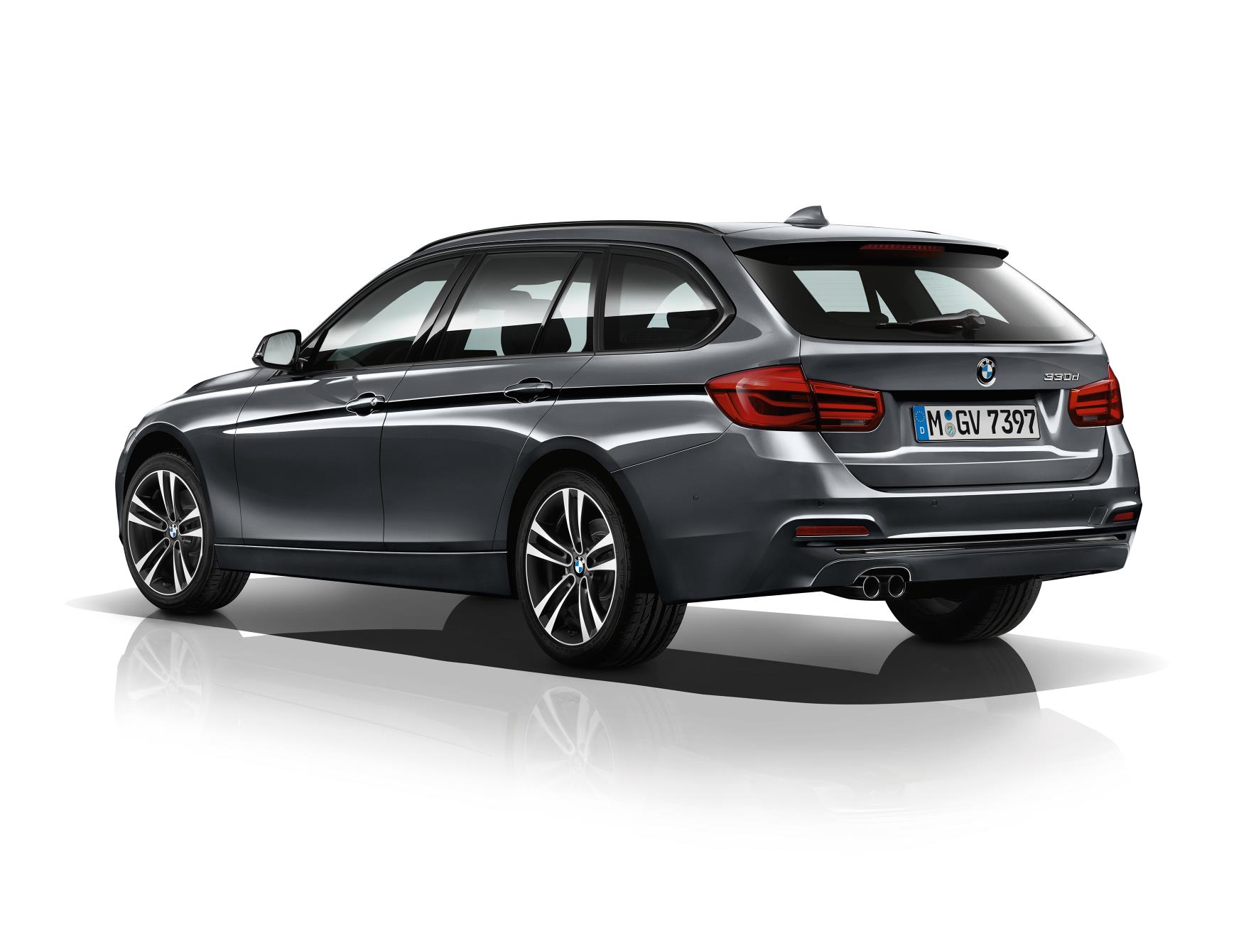 BMW 3 Series rear view in grey