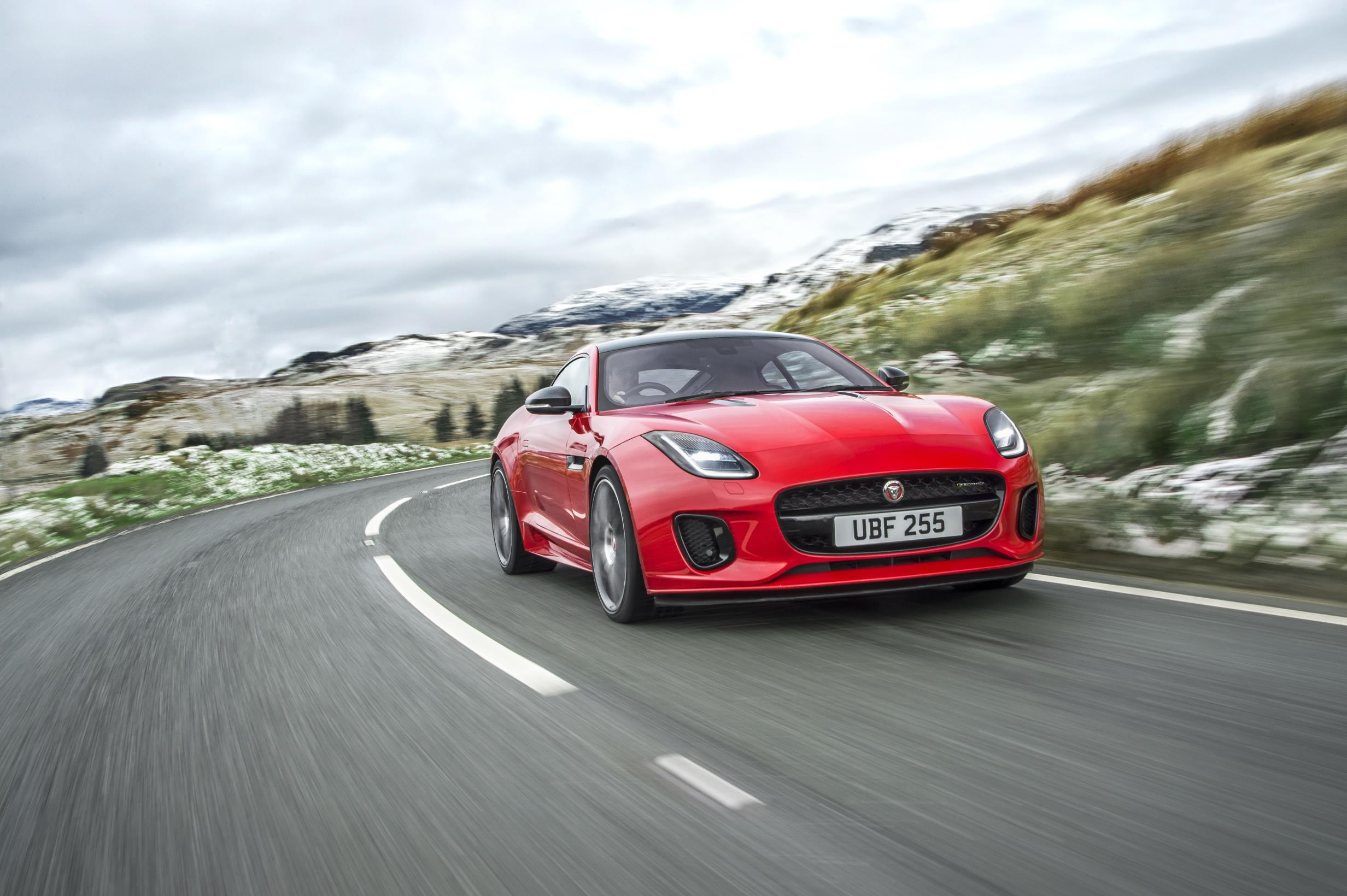 Jaguar F Type on road in red