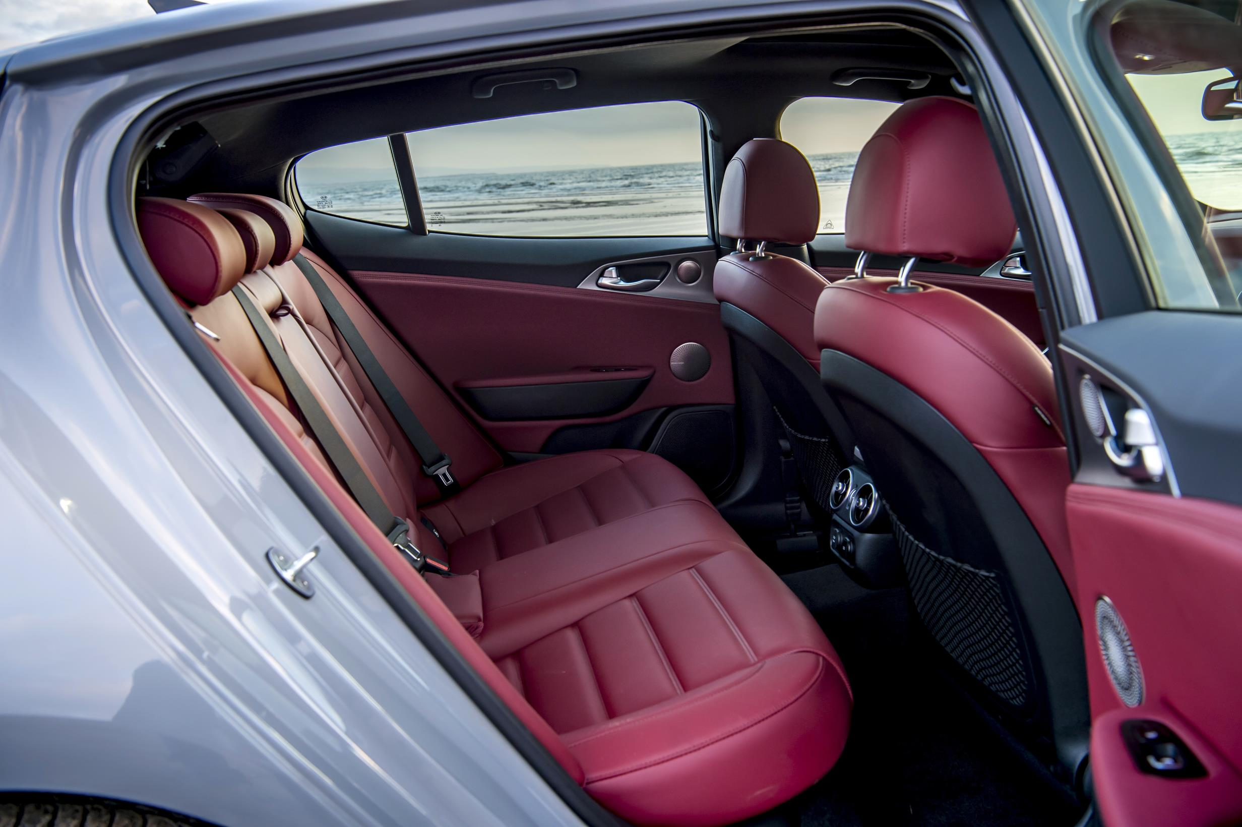 Kia Stinger rear seats red leather