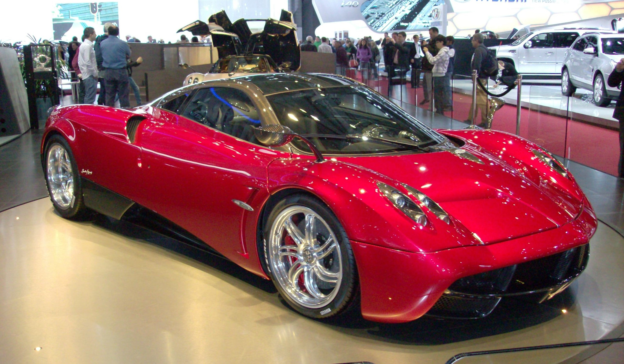Pagani Huayra showroom in red