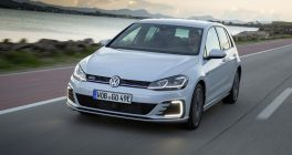 volkswagen golf 2017 in white at speed on the road