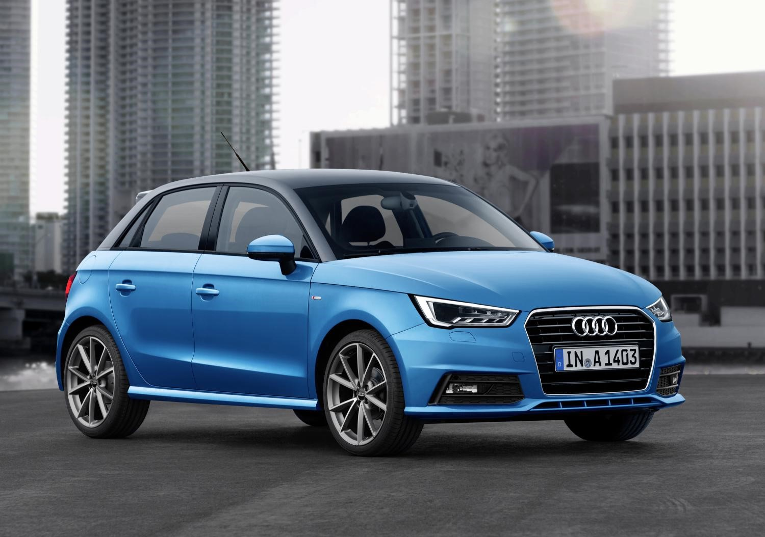 Audi A1 front view in blue