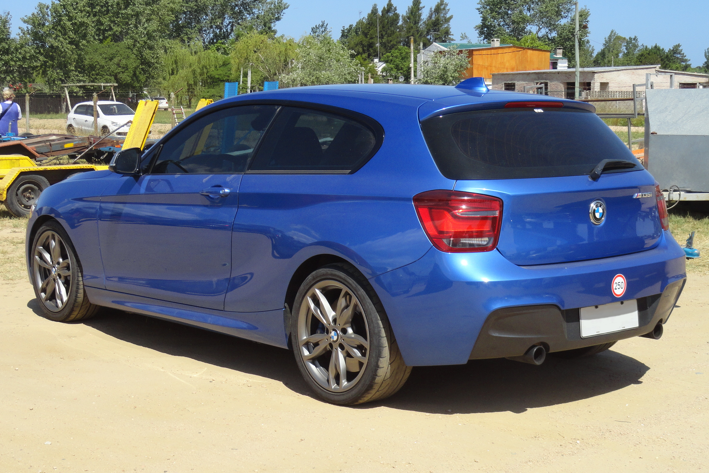 BMW M135i F21 rear view in blue