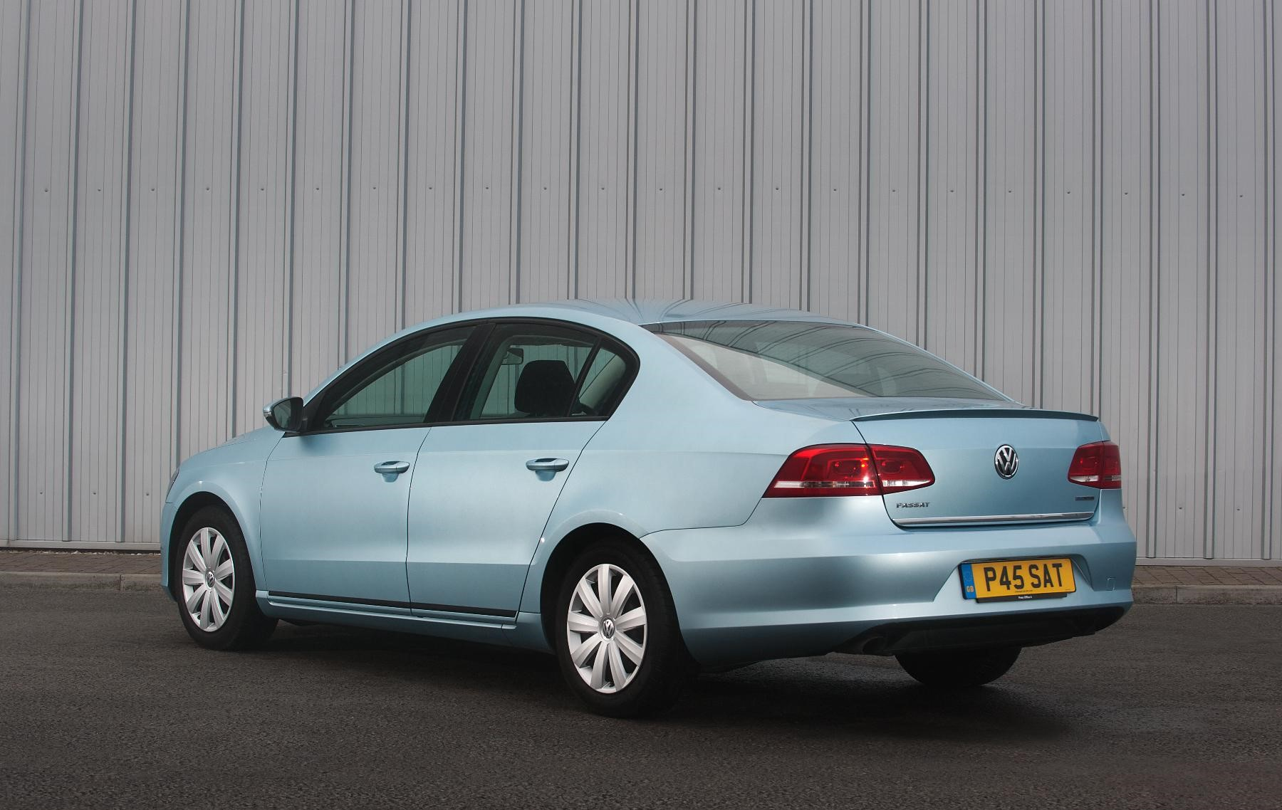 Vauxhall Passat rear view in blue