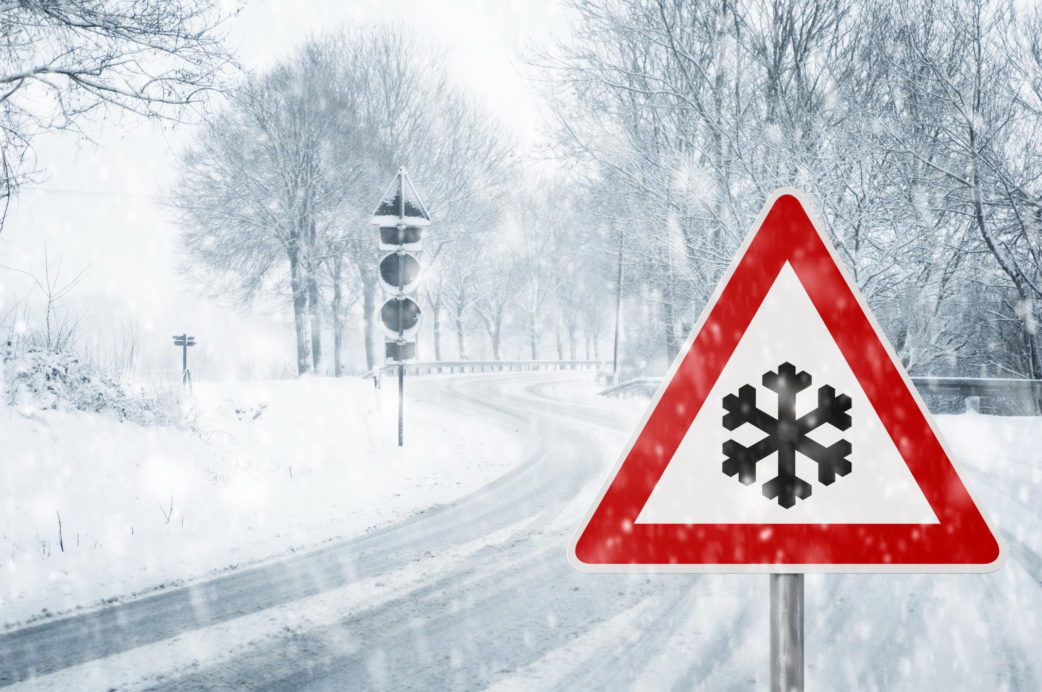 Winter Driving Road Sign