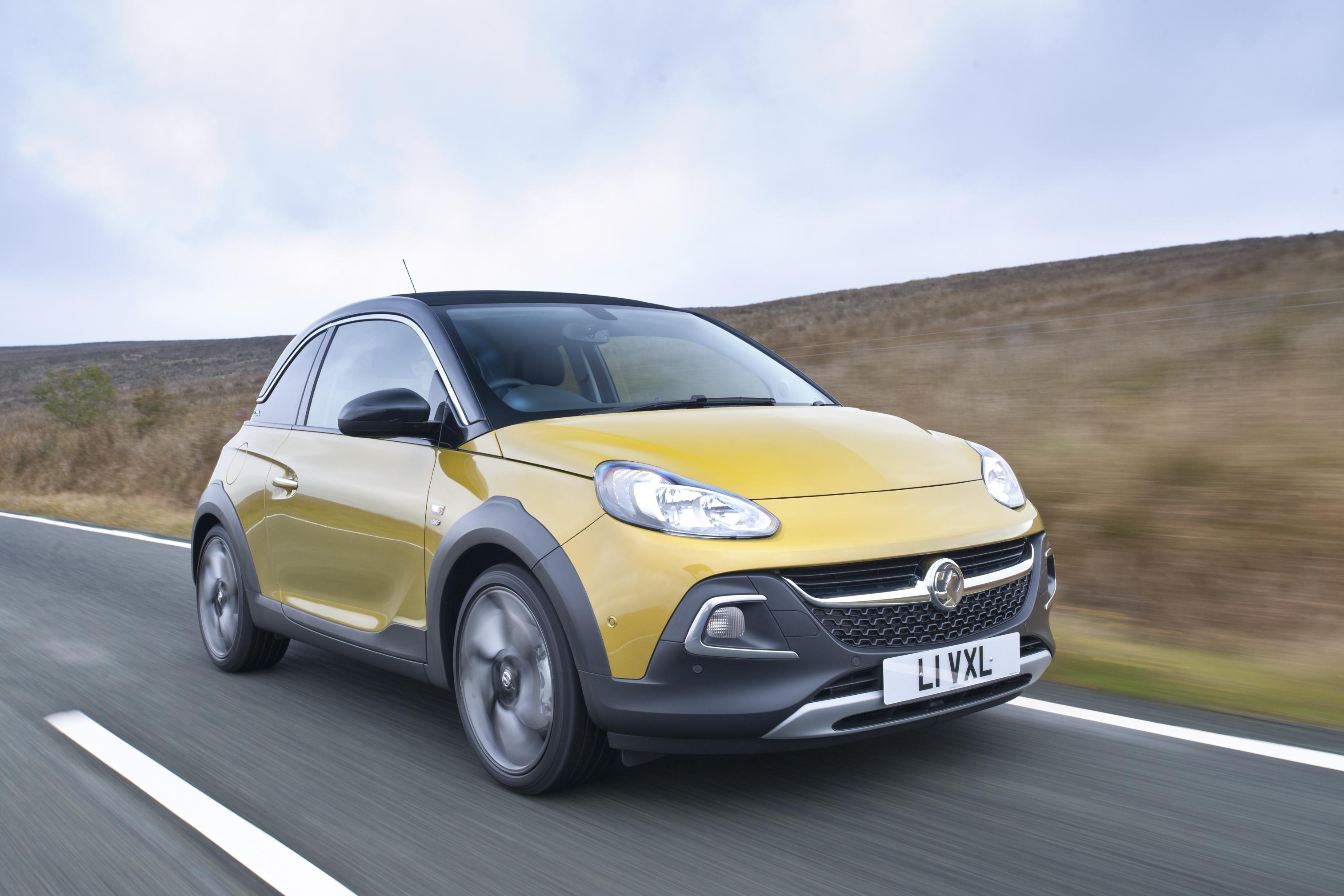 Vauxhall Adam front view in yellow