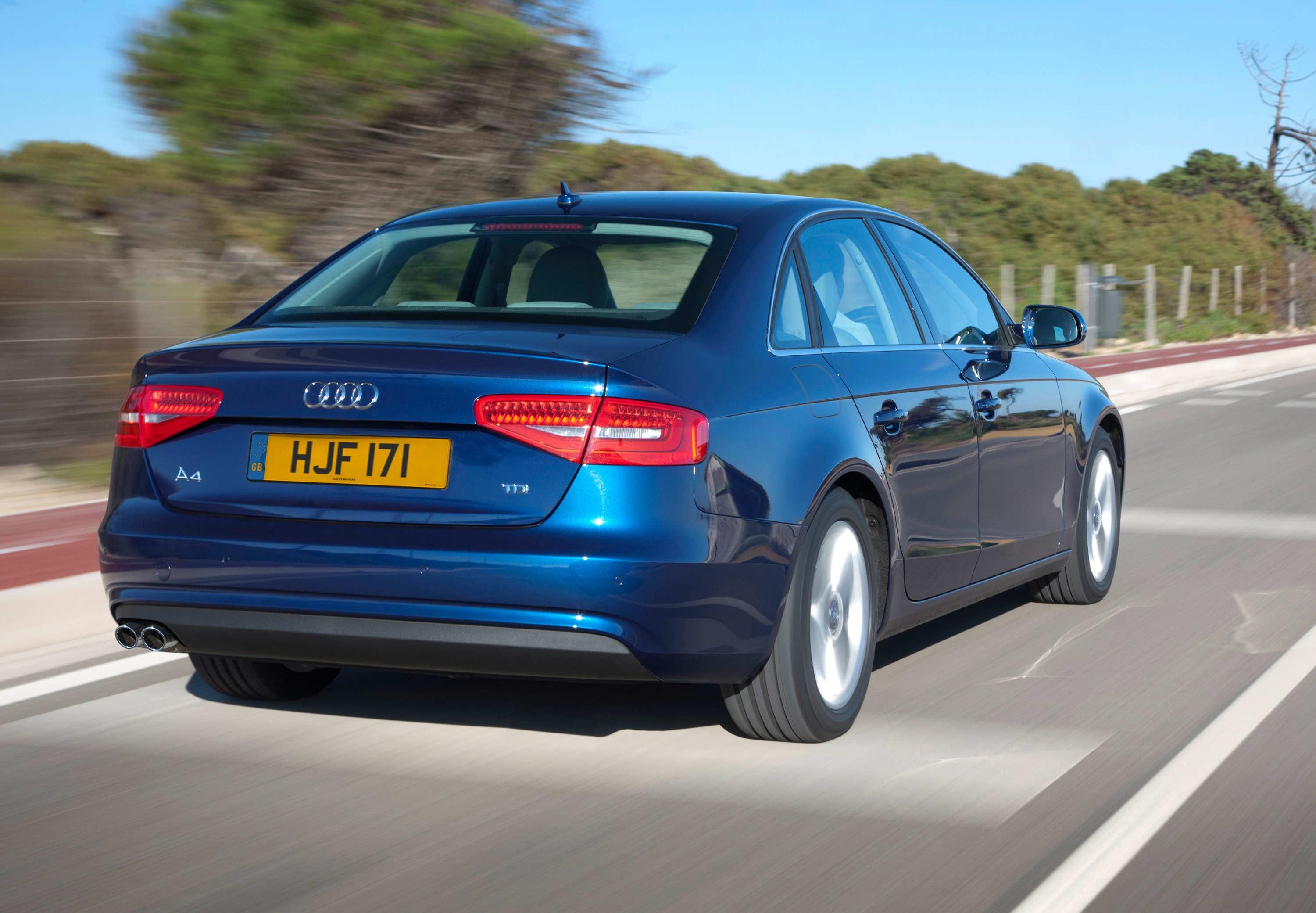 Audi A4 rear view in blue